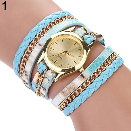 Women's Leopard Wrap Braided Faux Leather Analog Quartz Bracelet Wrist Watch AJON C2K5W