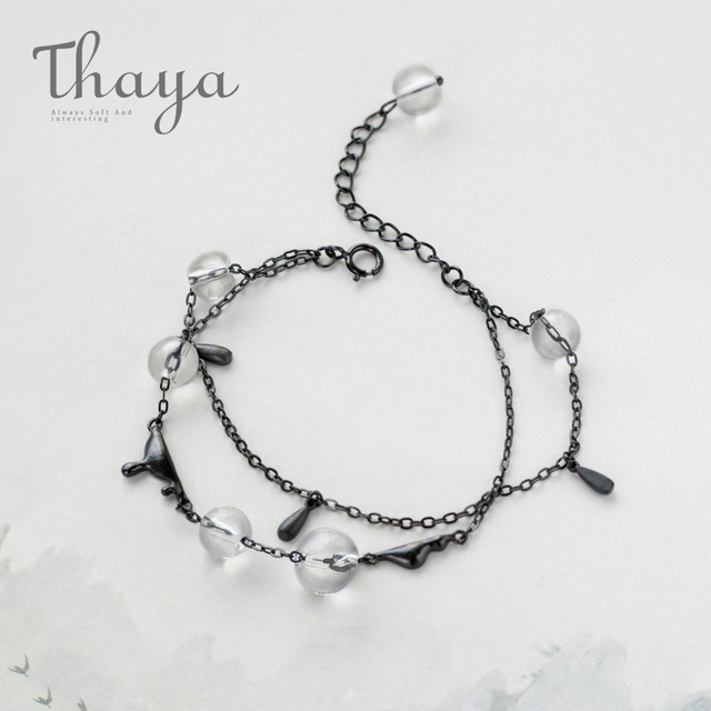 Thaya Ink Gemstone Bracelet Bead Crystal S925 Silver Smooth Comfort Black Chain Jewelry For Women Story