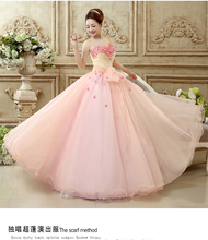 100%real beading pink small flower solo long ball gown Medieval dress Renaissance gown princess cosplay Victorian Belle Ball