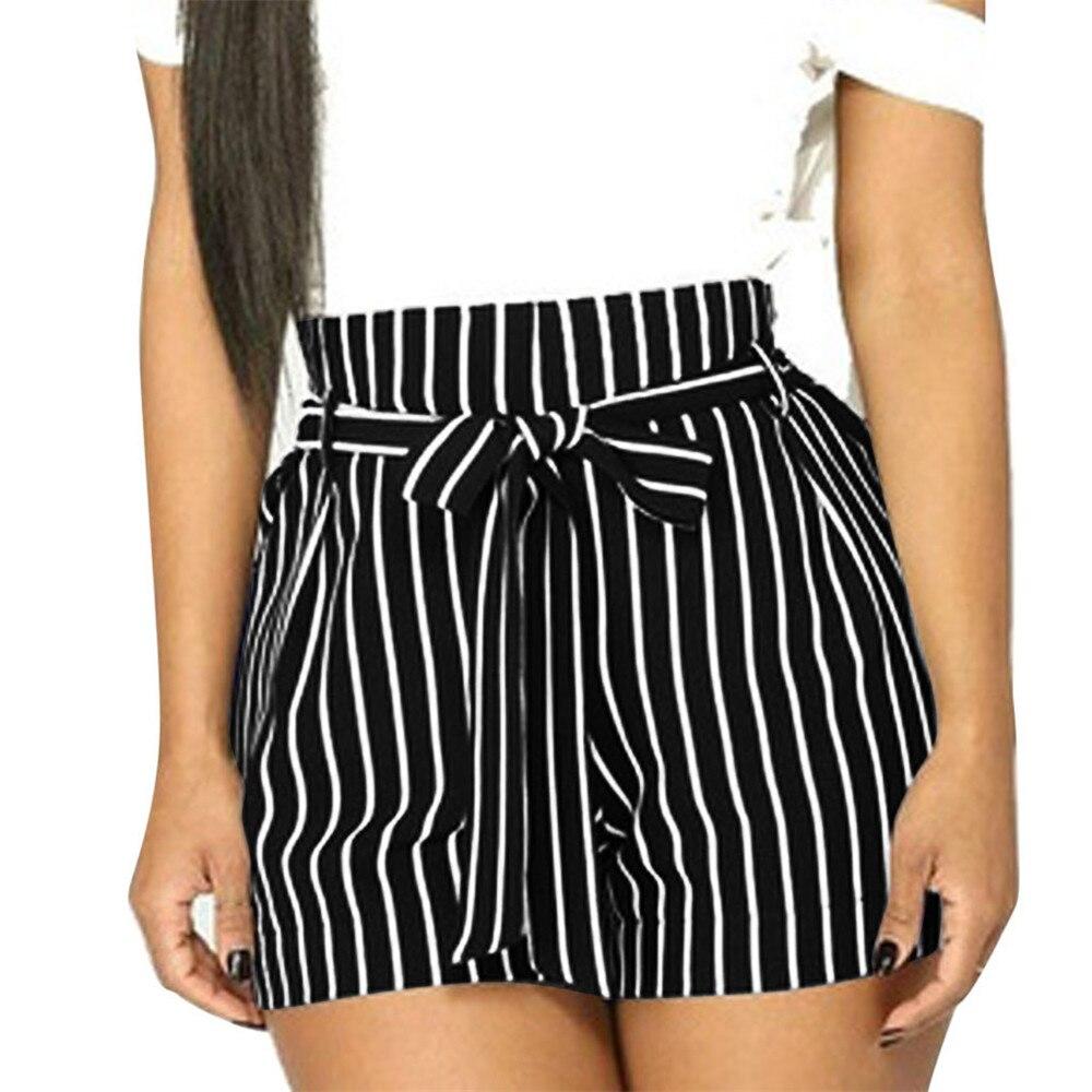 JAYCOSIN Women Clothes   Shorts   Loose Elastic Summer Female   Shorts   Fashion Casual High Waist Drawstring Striped Sashes   Short   Pants