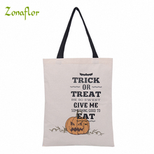 Zonaflor 10pcs Halloween Canvas Bag With Handle Shopping Bag Stocking Tote Gift Bags Festive Party Decoration For Kids Gift