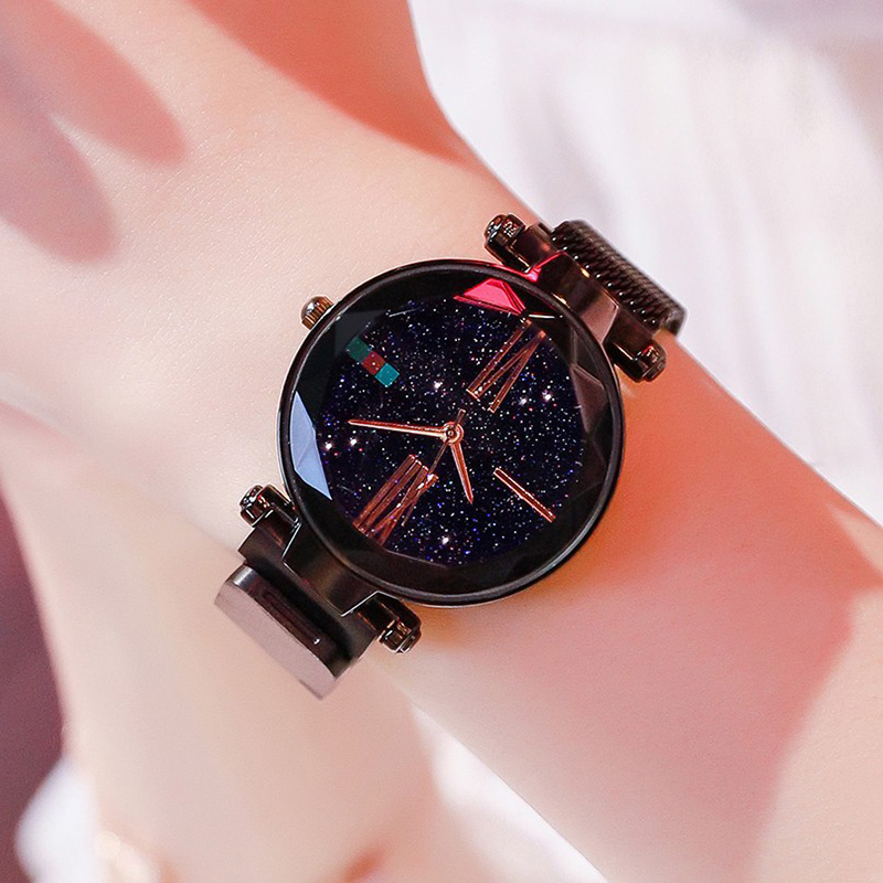 Luxury Rose Gold Women Watches Minimalism Starry Sky Magnetic Fashion Casual Female Wristwatch Waterproof Roman Numeral for Gift 4