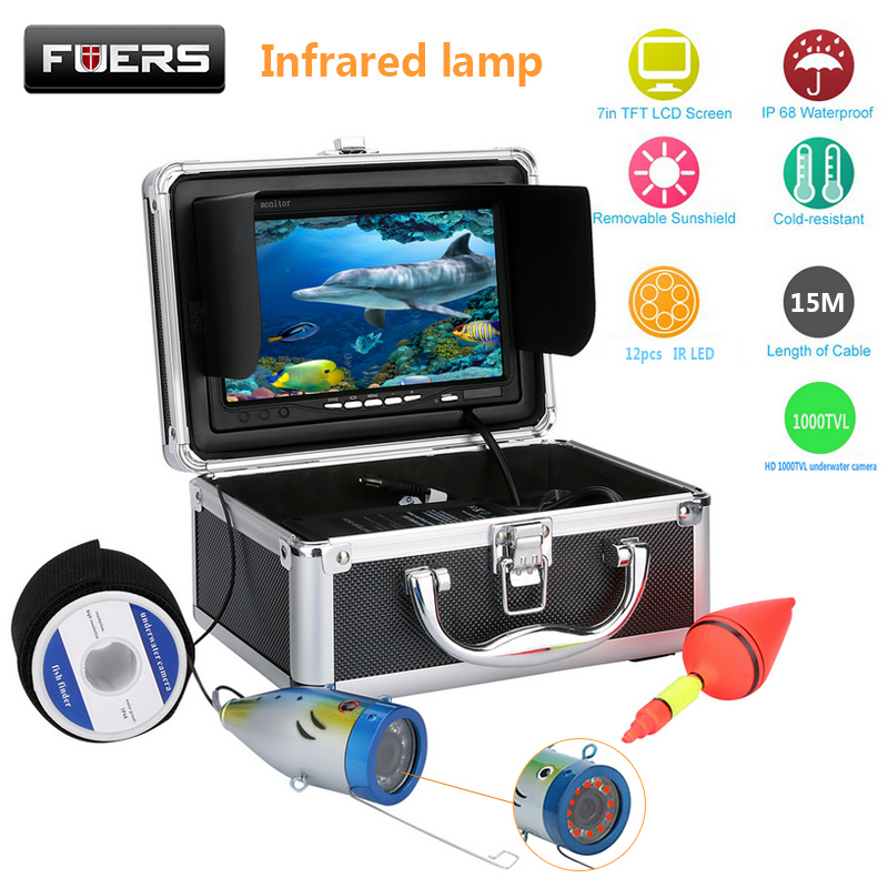 Fuers Fish Finder Underwater Camera 15M 7'' 1000TVL HD Waterproof Underwater Ice Fishing Camera 12pcs Infrared LED Fishing Cam eyoyo 80m professional underwater ice fishing camera night vision fish finder 7 monitor 1000tvl hd cam 12pcs infrared led
