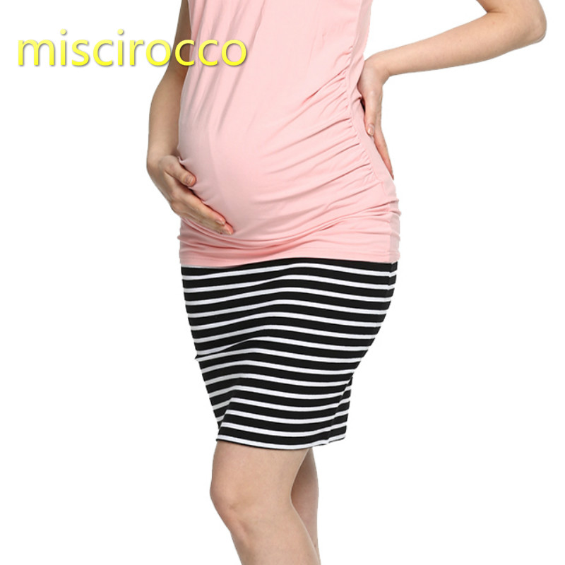 Maternity Short Skirts Autumn Thin Base Cotton Pregnant Woman Clothing Stripe Spring Summer Soft Comfortable