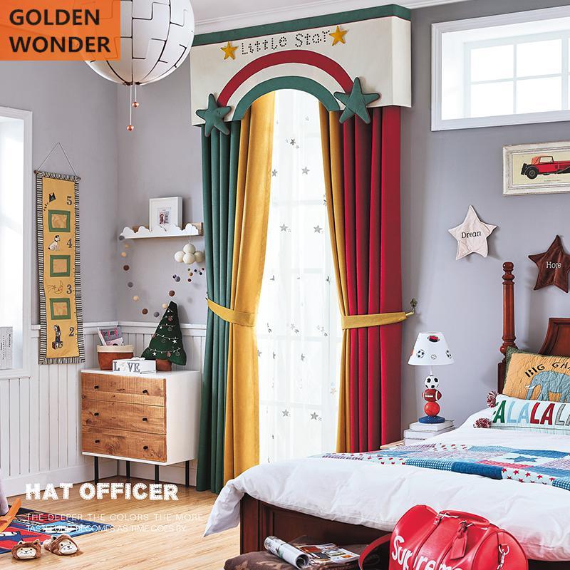 Korean Style Curtains For Children Living Room Cartoon Window Decoration