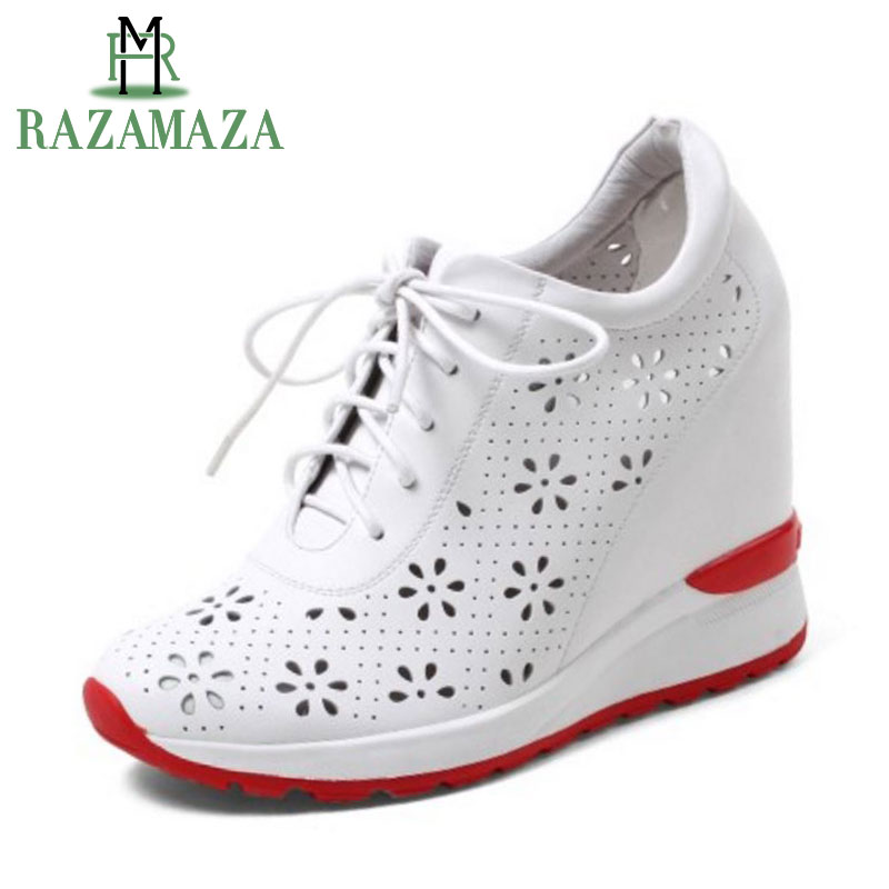 RAZAMAZA Quality Women Real Genuine Leather High Wedges Shoes Women Cross Strap Hallow Out Wedges Pumps Women Shoes Size 32-40RAZAMAZA Quality Women Real Genuine Leather High Wedges Shoes Women Cross Strap Hallow Out Wedges Pumps Women Shoes Size 32-40