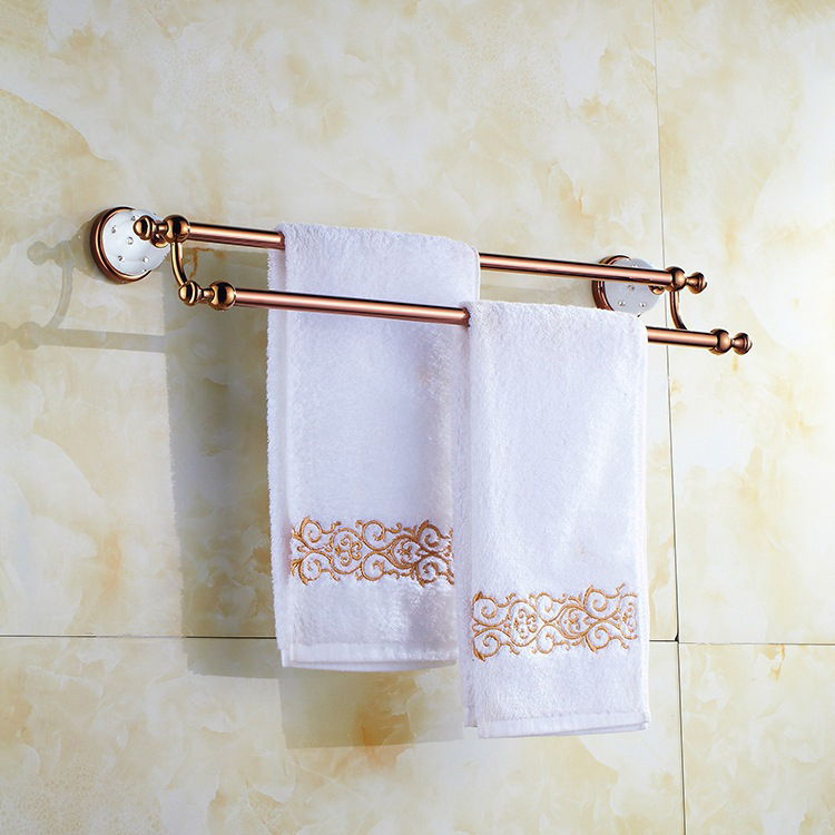 ФОТО High Quality European Style Solid Brass Diamond Towel Rail Rose Gold Double Towel Bar Bathroom Towel Holder Bathroom Accessories