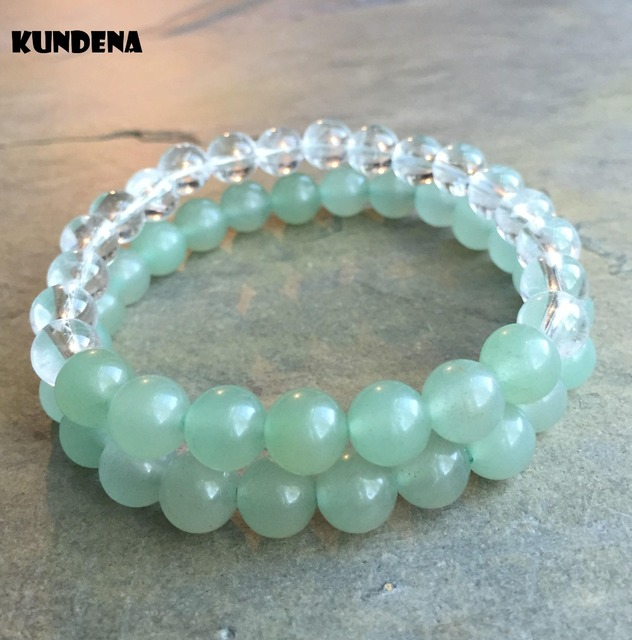 8mm Set Of 2 Beaded Bracelets Green Stone Clear Crystal Quartz Bracelet Yoga Mala Beads Elastic Stretchy