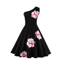 Sisjuly Vintage Dress Black One Shoulder Floral Embroidery Dress 1950s Style 2017 Summer Dresses Elegant Vintage