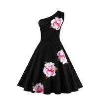 Sisjuly Vintage Dress Black One Shoulder Floral Embroidery Dress 1950s Style 2017 Summer Dresses Elegant Vintage