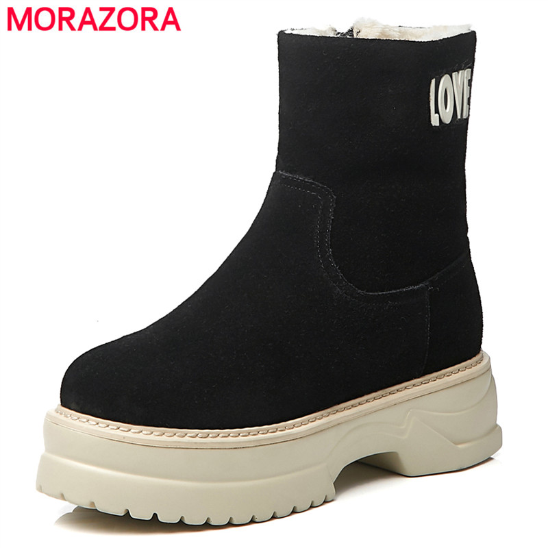 MORAZORA 2018 new arrival cow suede leather ankle boots for women comfortable punk platform shoes thick fur winter snow boots MORAZORA 2018 new arrival cow suede leather ankle boots for women comfortable punk platform shoes thick fur winter snow boots