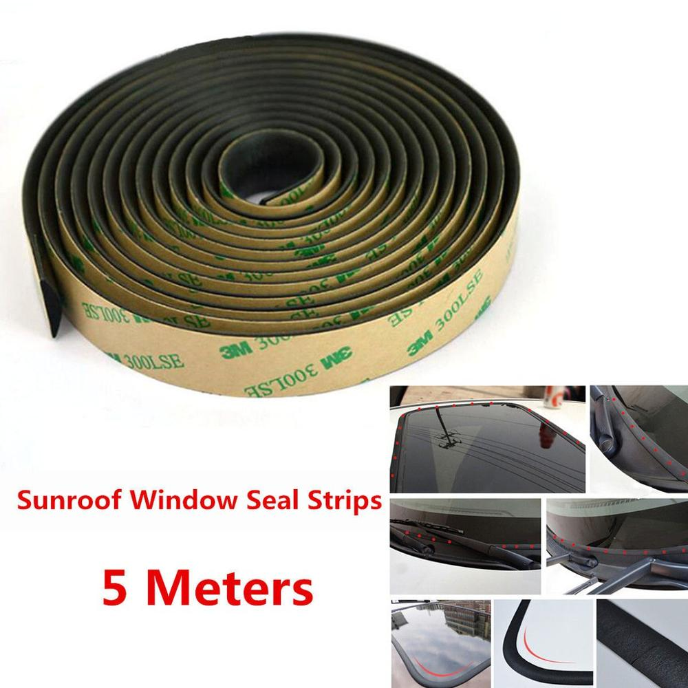 5M Sealed Strips Trim Moulding For Car Windshield Sunroof Triangular Window Seal