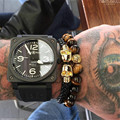 New 2016 Men Stainless Steel Black Leather Skull Bracelets & Bangles Punk Style Fashion Wrap Bracelet Handmade Bracelets