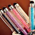 (1Pcs/Sell) Creative Crystal Pen Diamond Ballpoint Pens Stationery Ballpen Stylus Pen Touch Pen 11 Colors Oily Black Refill