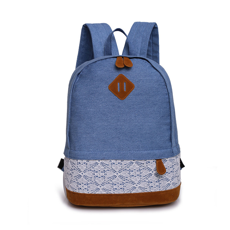 AUGUR Fashion Women Canvas Lace Backpack Bag School For Teenagers Vintage Laptop Backpack Rucksack Girl School Bag