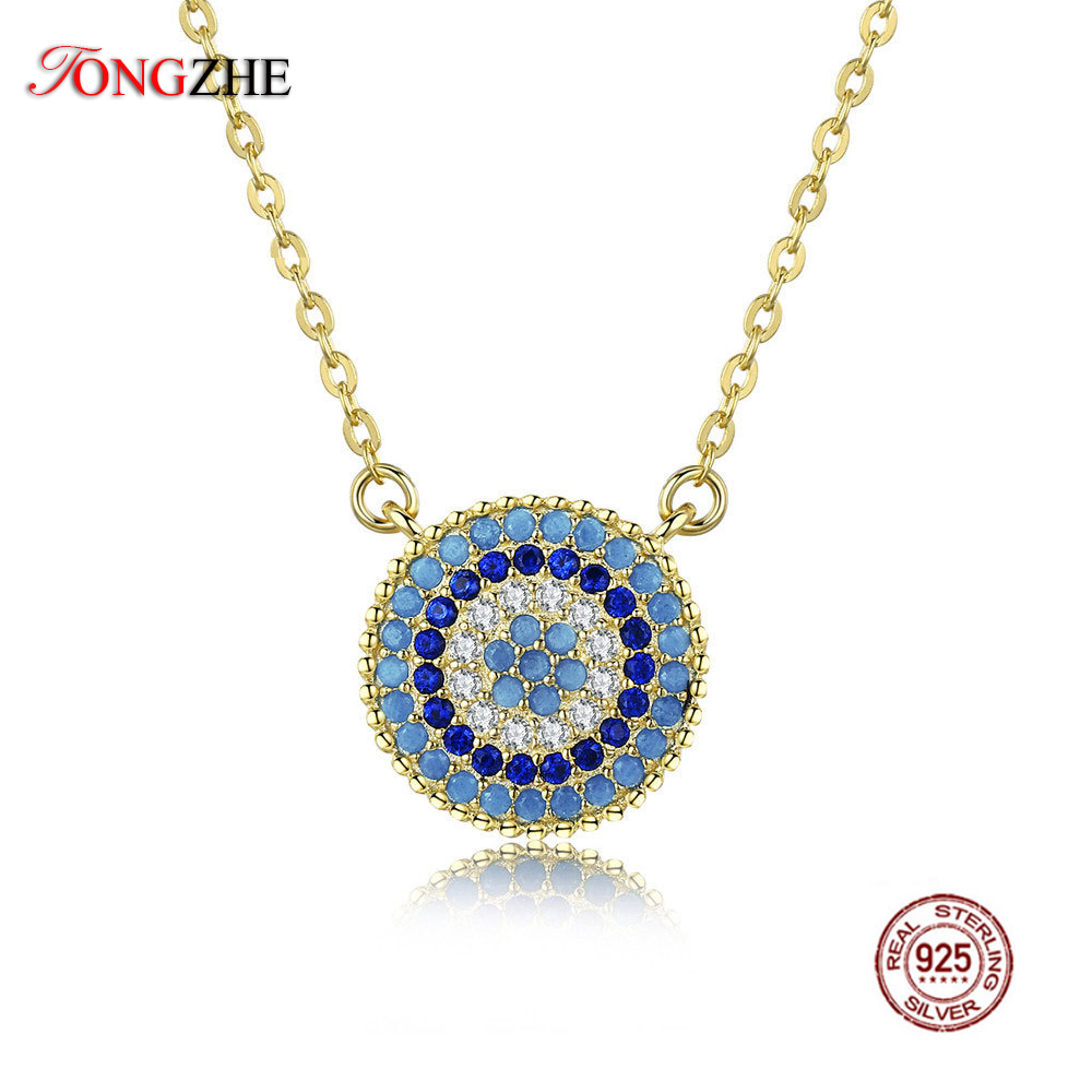 TONGZHE 2018 Fashion Long Evil Eye Necklace 925 Sterling Silver Blue Crystal CZ Gold Pendant Eye Necklaces Women Jewelry Collars silver colored plated sterling silver cubic zirconia cz hamsa hand evil eye pendant 16 2 extender n1312 01