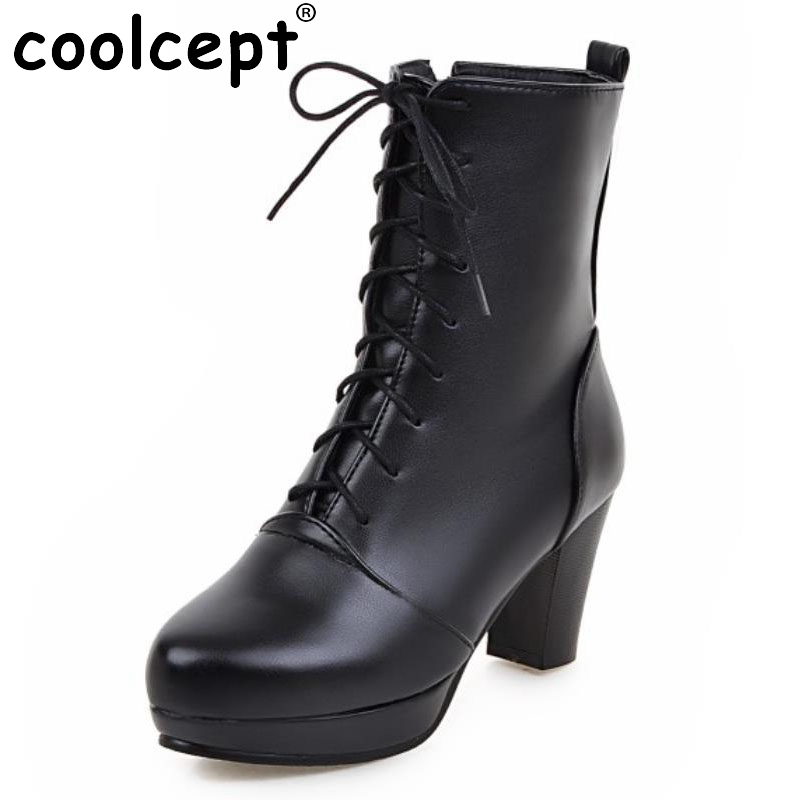 ФОТО Women Vintage Thick Heel Ankle Boots Female Pointed Toe Martin Shoes Fashion Lace Up Heels Woman Shoes Footwear Size 33-43