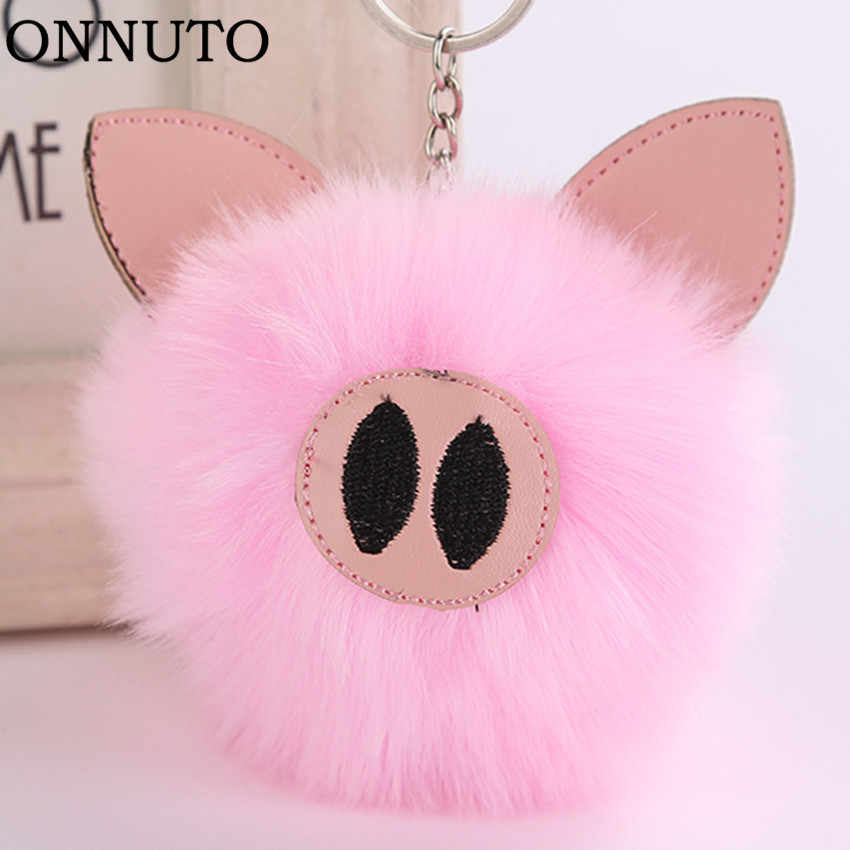 Cute Charm Pink Pompon Pig Keychain Pendant Women Key Chain Rings Fluffy Fur Ball Bag Hang Toy Car Trinkets