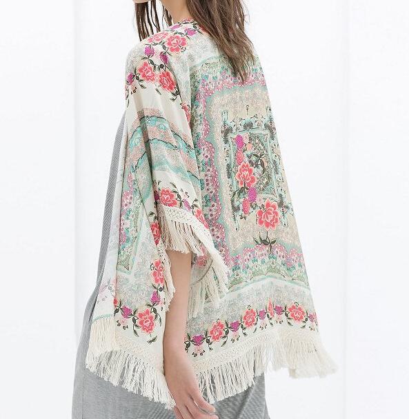 Ct607 padrão floral New moda feminina ' borla capa do vintage solta Outwear casual Tops elegante capa Lady kimono blusas branded