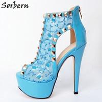 Sorbern Light Blue Lace Women Pumps Plus Size Rivets Peep Toe Zipper High Heels Ladies High