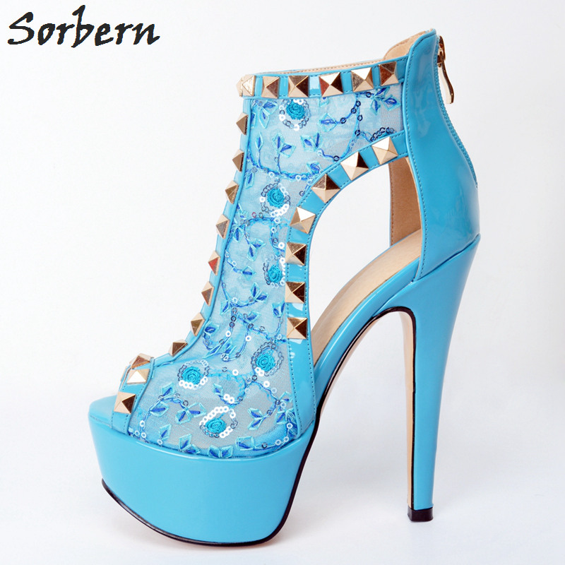 Sorbern Light Blue Lace Women Pumps Plus Size Rivets Peep Toe Zipper High Heels Ladies High Heel Shoes Sexy Woman Platform P sorbern high heels pumps womens shoes platform autumn women shoes plus size ladies party shoes 2017 new arrive peep toe zipper