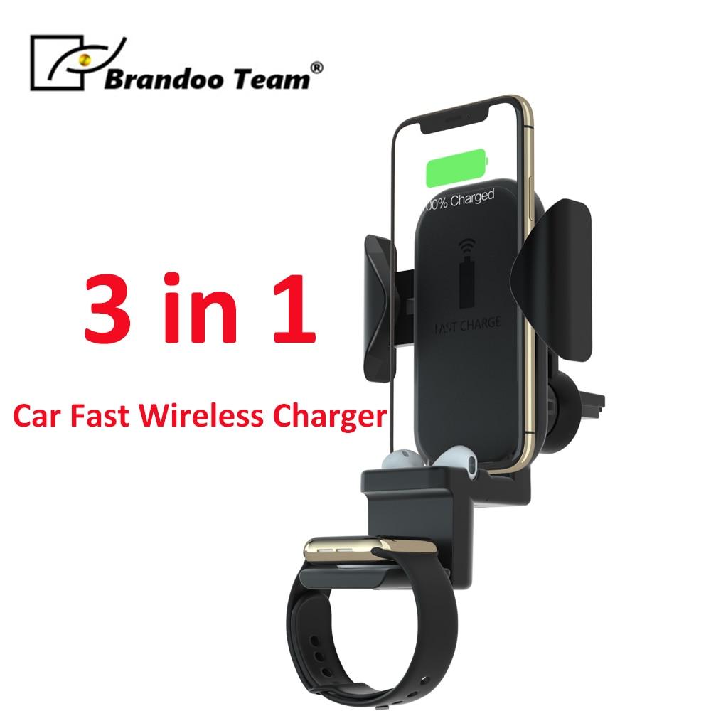 Chargeur sans fil rapide de voiture 3 en 1 pour iPhone Xs Max 10 W charge de véhicule pour Apple Watch 1/2/3/4 pour téléphone Airpods