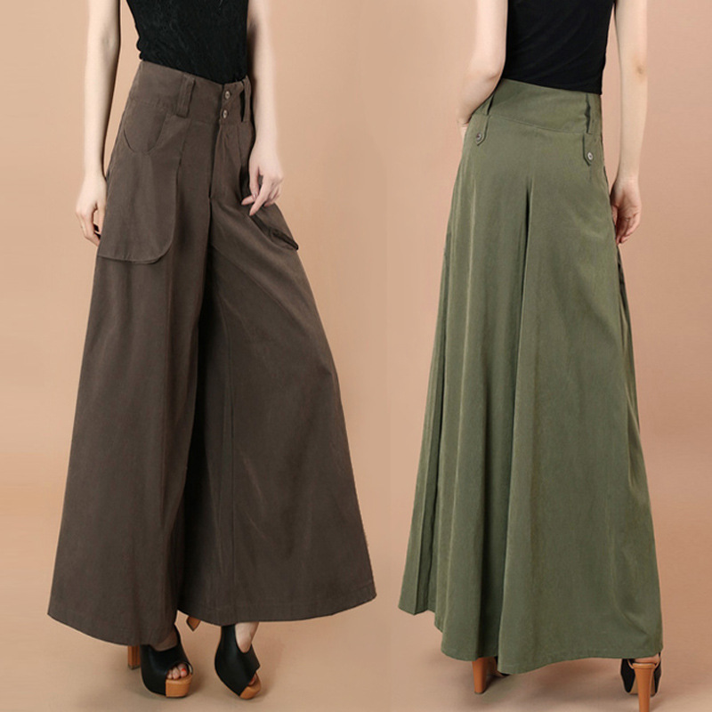 Spring Women   Wide     Leg     Pants   High Waist Button Palazzo   Pants   Pocket Oversize Lady Classy Work Wear Army Green Black Loose Trouser