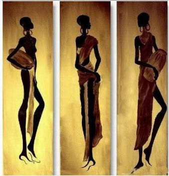 Free Shipping 3 pcs Handmade Abstract Oil Painting Canvas Modern Paintings Wall art-African Women I