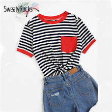 SweatyRocks Pocket Patched Striped Ringer Tee Streetwear Tee Shirt Femme 2019 Summer Preppy Tops Ladies Casual Basics Tshirts(China)