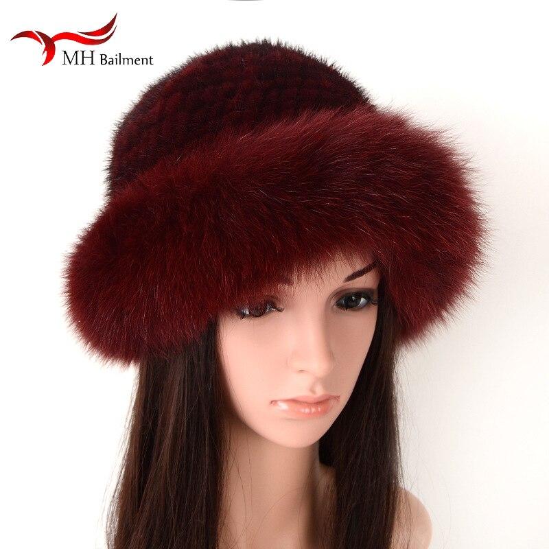 Femmes hiver réel vison casquette avec fourrure de renard tricot seau chapeau mode coiffure pêcheur faisant dôme hip hop bonnet enfant harajuku 1