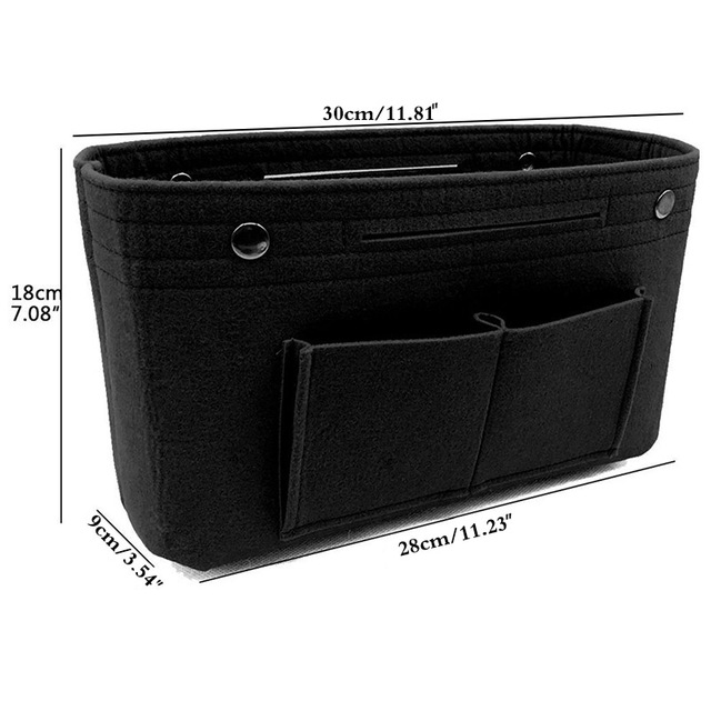 Makeup Storage Organizer,Felt Cloth Insert Cosmetic Bag Multi-pockets Fits in Handbag Cosmetic Toiletry Bag for Travel Organizer 2