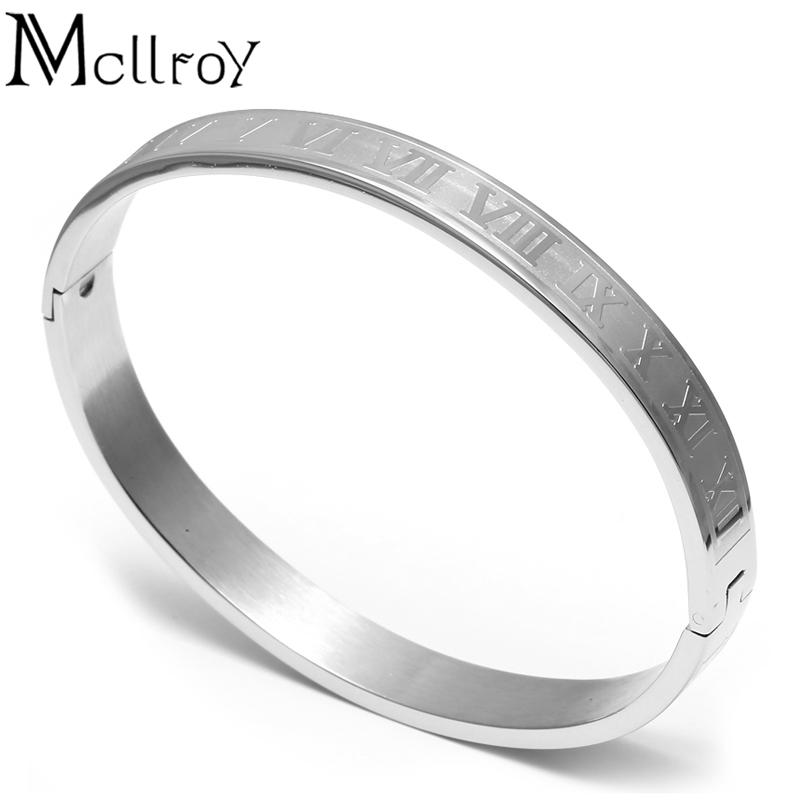 bcb288918d5 Mcllroy Stainless Steel Roman Numeral Bangle Bracelet For Women Accessories  Gold Cuff Bangle Couple Bracelet gifts for women-in Bangles from Jewelry ...