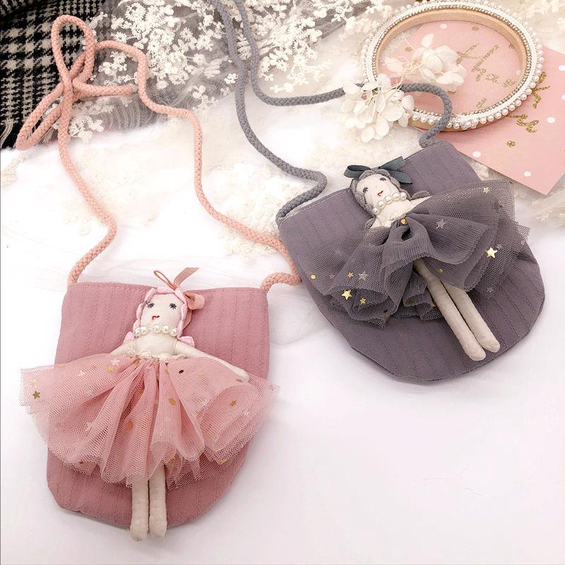 Korea Handmade Fabric Yarn Doll Dancing Girl Necklace Bag Bas