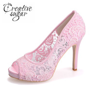 Creativesugar see through mesh lace bridal wedding party prom cocktail evening dress shoes black pink white ivory open peep toe