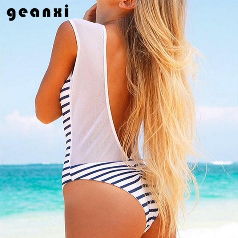 2018 New Push Hot Sell One Piece Swimwear Women Sexy Gauze Swimsuit Simple Blue Stripe BathingSuit Beach Halter Hipster Monokini