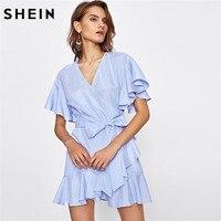 SheIn Women Dress Summer 2017 Frill Detail Surplice Wrap Striped Dress Ladies Deep V Neck Short