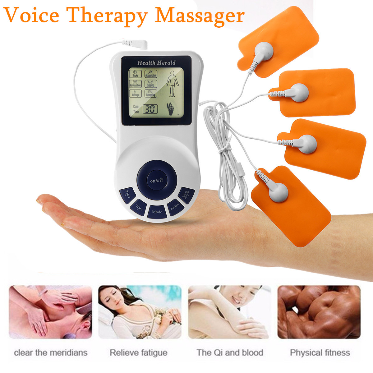 Tens Body Healthy Care Digital Meridian Electronic Pulse Therapy Massager Kit with 4-Way Electrode Pad Wire 6 Modes LCD Display home healthy coronary heart disease electronic pulse laser therapy massager