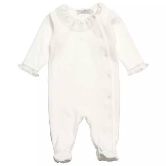 Meninas do bebê macacão de manga Longa gola de renda borda bebê escalar roupas de algodão pijamas atacado