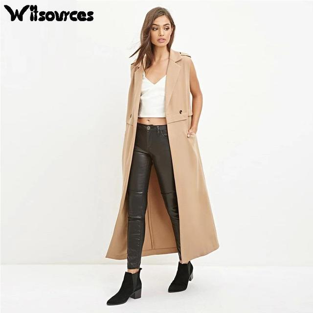 Witsources women OL style trenches coats autumn new fashion sleeveless turn down collar long trench coat  outwear SC2306