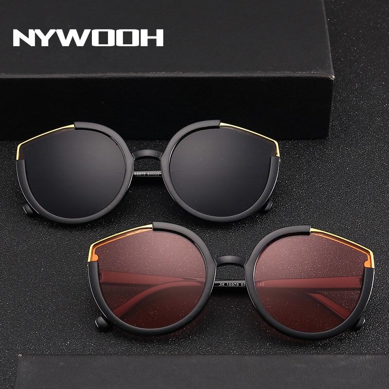 NYWOOH Vintage Sonnenbrille Männer Cat Eye Sonnenbrille Luxus Halb Rahmen Gläser Weibliche Cateye Brillen Shades für Frauen
