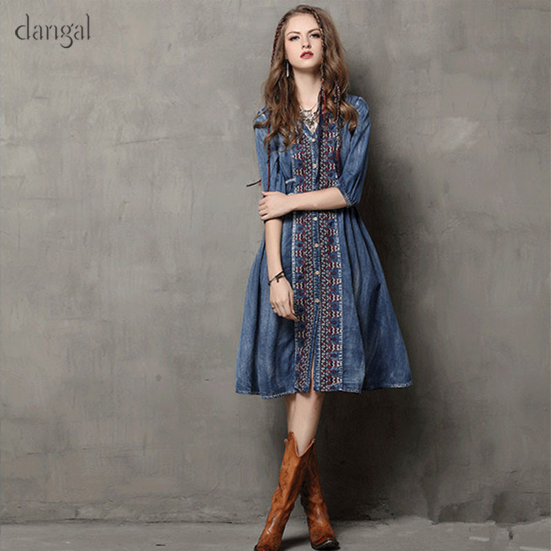 Dangal Women Jean Dress 2018 Spring V Neck Half Puff Sleeve Big Swing Vestidos Embroidery Drawstring