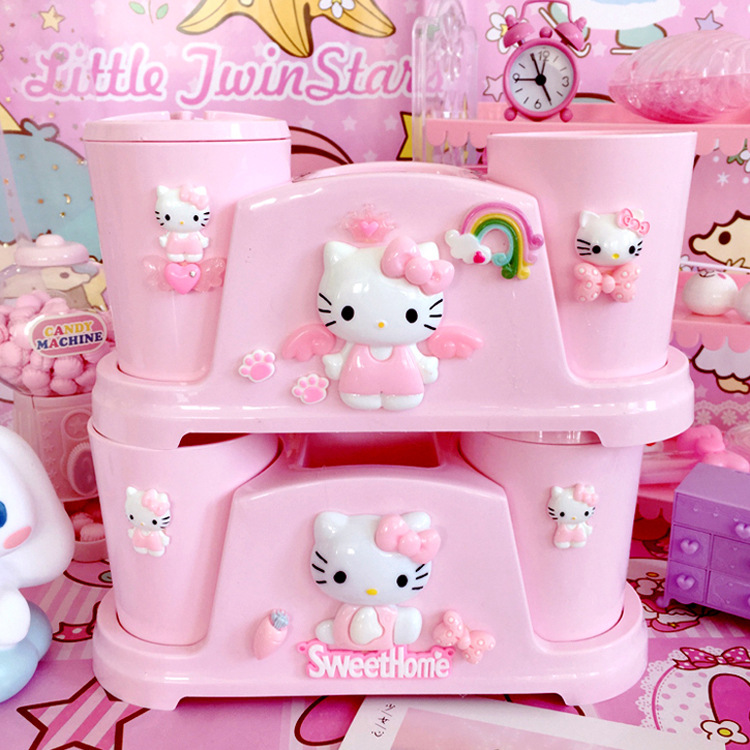 KT Cat Cartoon Couple Toothbrush Cup Tumblers Hello Kitty Brush Cups Mouthwash Shaped Plastic In Bathroom Accessories Set Pink