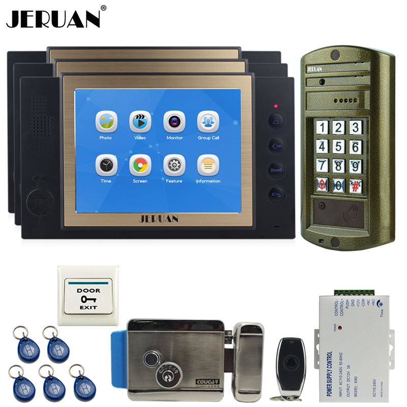 JERUAN 8 inch TFT Color Video DoorPhone Record Intercom System kit 3 Black Monitor+Metal Waterproof password HD Mini Camera 1V3 jeruan wired 8 video doorphone record intercom system kit 2 monitor new rfid waterproof touch key password keypad camera 8g sd