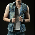 2015 NEW Spring Fashion Slim Single Breasted Masculino Denim Men Vest Short Design Sleeveless Jacket Plus Size S-2XL