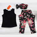 2016 Fashion Baby Kids Girls Outfits Headband T-shirt Floral Pants Clothes Set 3pcs