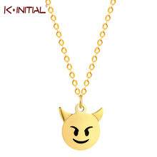 Kinitial New Stainless Steel Round Coin Emoji Face Angry Expression Pendants Necklaces Emoticon Emotion Head Necklace Jewelry(China)