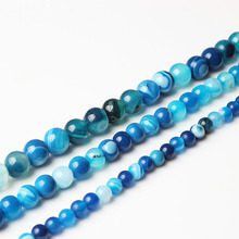 LIngXiang Fashion Natural Jewelry blue Stripe chalcedony Round Loose Beads Suitable for DIY female bracelet necklace
