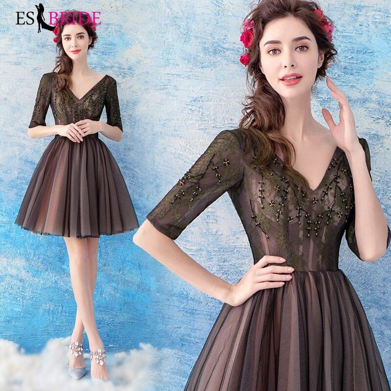 V-neck Sexy Evening Dresses Short Robe De Soiree Party Princess Evening Dress Elegant 2019 New Vestidos De Fiesta De ES2304