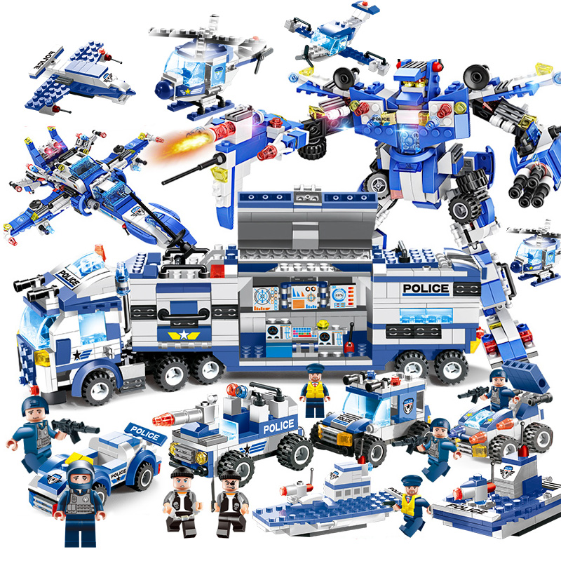 8 IN 1 Police War Generals Robot Car Building Blocks Helicopter Bricks Educational Toys Compatible With Legoed City Blocks 528pcs 10423 urban police helicopter surveillance building blocks kids educational bricks gift toys compatible lepin city 60046