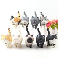 Kawaii Japanese Cat Figurine PVC Action Figure Mini Cute Pet Decoration Accessories Educational Toys for Kids 9pcs/set